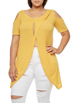 Plus Size Asymmetrical Cold Shoulder Top with Necklace - 3912038342203