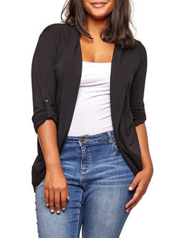 Plus Size Open Front Tabbed Sleeve Cardigan - 3912038342204