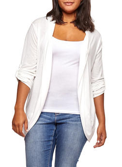 Plus Size Open Front Tabbed Sleeve Cardigan - IVORY - 3912038342204