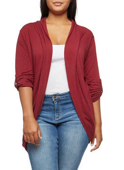 Plus Size Open Front Tabbed Sleeve Cardigan - WINE - 3912038342204