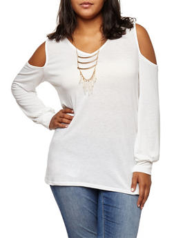 Plus Size Cold Shoulder Top with Necklace - IVORY - 3912038342207
