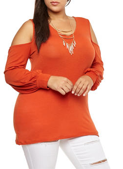 Plus Size Cold Shoulder Top with Necklace - 3912038342207