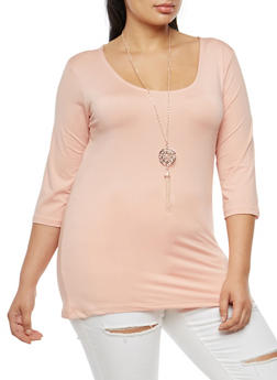 Plus Size Knotted Open Back Top with Necklace - BLUSH - 3912038342303