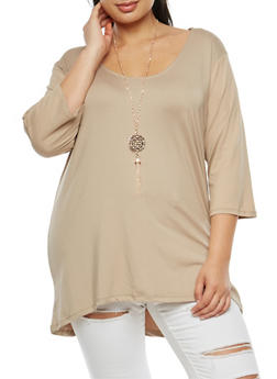 Plus Size Knotted Open Back Top with Necklace - 3912038342303