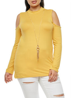 Plus Size Mock Neck Cold Shoulder Top with Necklace - 3912038342304