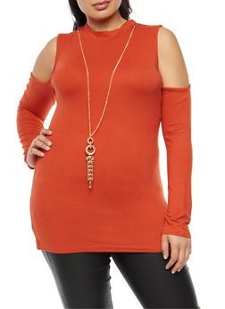 Plus Size Mock Neck Cold Shoulder Top with Necklace - 3912038342304
