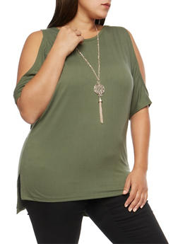 Plus Size Dolman Sleeve Cold Shoulder Top with Necklace - OLIVE - 3912038342307