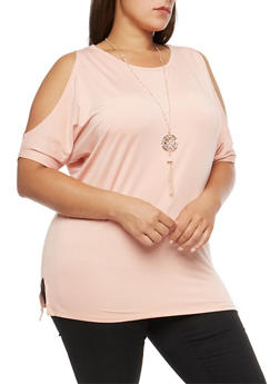 Plus Size Dolman Sleeve Cold Shoulder Top with Necklace - 3912038342307