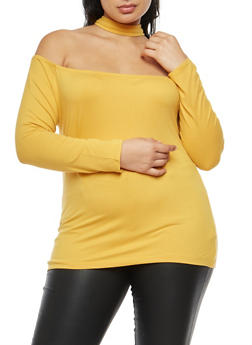 Plus Size Off the Shoulder Choker Neck Top - 3912038342310