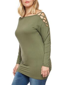 Plus Size Caged Shoulder Top - OLIVE - 3912038342313