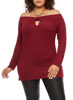Plus Size Off the Shoulder Keyhole Top with Necklace - 3912038342317