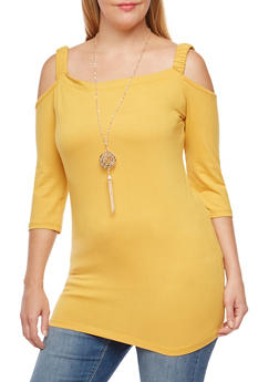 Plus Size Cold Shoulder Top with Detachable Necklace - 3912038342319