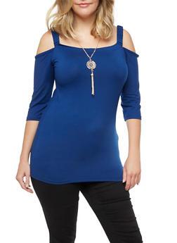 Plus Size Cold Shoulder Top with Detachable Necklace - 3912038342319