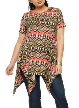 Plus Size Asymmetrical Printed Top - 3912038342350