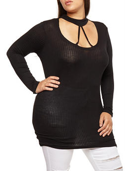 Plus Size Caged Choker Neck Top - 3912038342401