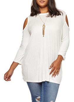 Plus Size Ribbed Knit Cold Shoulder Top with Necklace - IVORY - 3912038342403