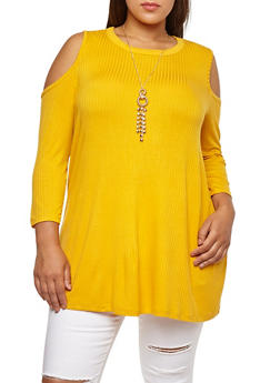 Plus Size Ribbed Knit Cold Shoulder Top with Necklace - 3912038342403