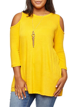 Plus Size Ribbed Knit Cold Shoulder Top with Necklace - MUSTARD - 3912038342403