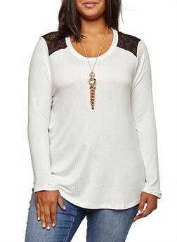 Plus Size Lace Trim Top with Necklace - 3912038342410