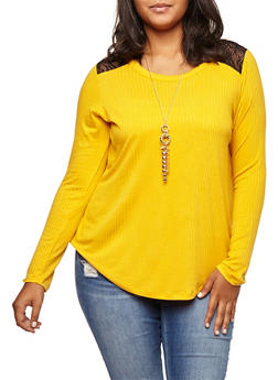 Plus Size Lace Trim Top with Necklace - 3912038342410