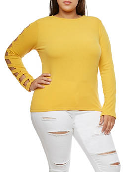 Plus Size Caged Sleeve Ribbed Knit Top - 3912038342420