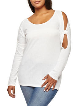 Plus Size Ribbed Knit Knotted Slit Sleeve Top - 3912038342426