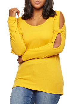 Plus Size Ribbed Knit Knotted Slit Sleeve Top - MUSTARD - 3912038342426