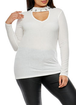 Plus Size Ribbed Knit Grommet Keyhole Top - WHITE - 3912038342429