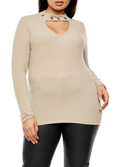 Plus Size Ribbed Knit Grommet Keyhole Top - 3912038342429
