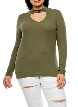 Plus Size Ribbed Knit Grommet Keyhole Top - OLIVE - 3912038342429