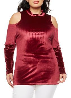 Plus Size Cold Shoulder Velvet Top - WINE - 3912038342452