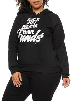 Plus Size Girls Just Wanna Have Funds Graphic Sweatshirt - BLACK - 3912038342508