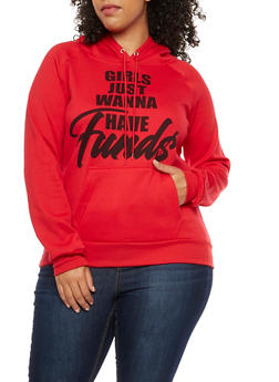 Plus Size Girls Just Wanna Have Funds Graphic Sweatshirt - 3912038342508