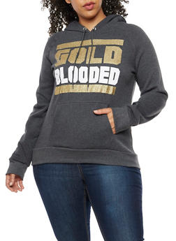 Plus Size Gold Blooded Graphic Hoodie - 3912038342509