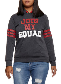 Plus Size Join My Squad Graphic Hooded Sweatshirt - 3912038342511