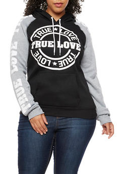 Plus Size True Love Color Block Hoodie - 3912038342513