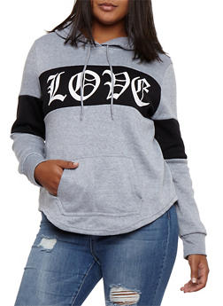 Plus Size Love Graphic Color Block Hooded Sweatshirt - 3912038342519