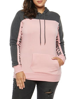 Plus Size Color Block Graphic Sweatshirt - 3912038342521