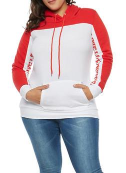 Plus Size Color Block Graphic Sweatshirt - 3912038342521