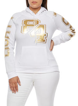 Plus Size 84 Foil Graphic Hooded Sweatshirt - 3912038345212