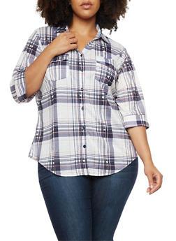 Plus Size Button Front Plaid Print Top - 3912051064013
