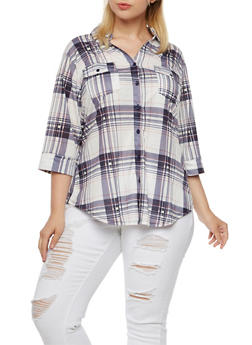 Plus Size Plaid Shirt - 3912051064213