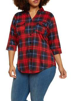 Plus Size Button Up Shirt in Plaid - 3912051064542