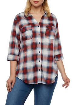 Plus Size Plaid Shirt with Button Front - 3912051064602