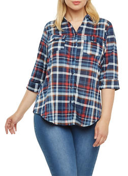 Plus Size Plaid Button-Down top with Pockets and Three-Quarter Sleeves - 3912051064862
