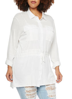 Plus Size Button Up Shirt with Drawstring - WHITE - 3912051064898