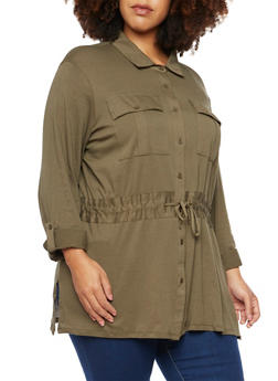 Plus Size Button Up Shirt with Drawstring - 3912051064898