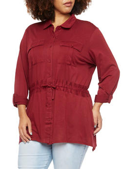 Plus Size Button Up Shirt with Drawstring - BURGUNDY - 3912051064898