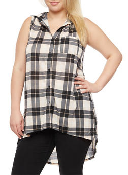Plus Size Sleeveless Plaid High Low Top - 3912051064990
