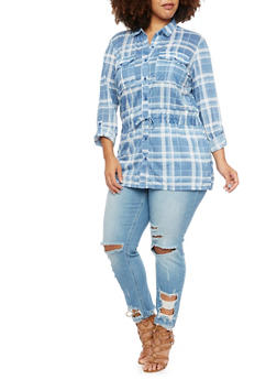 Plus Size Plaid Button Up Top with Drawstring Waist - 3912051065025